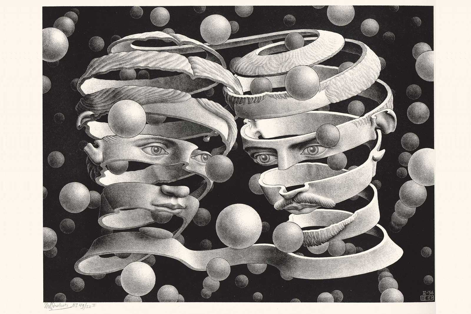 Maurits Cornelis Escher Vincolo d'unione Aprile 1956 Litografia, 25,3x33,9 cm Collezione Giudiceandrea Federico All M.C. Escher works © 2016 The M.C. Escher Company. All rights reserved www.mcescher.com