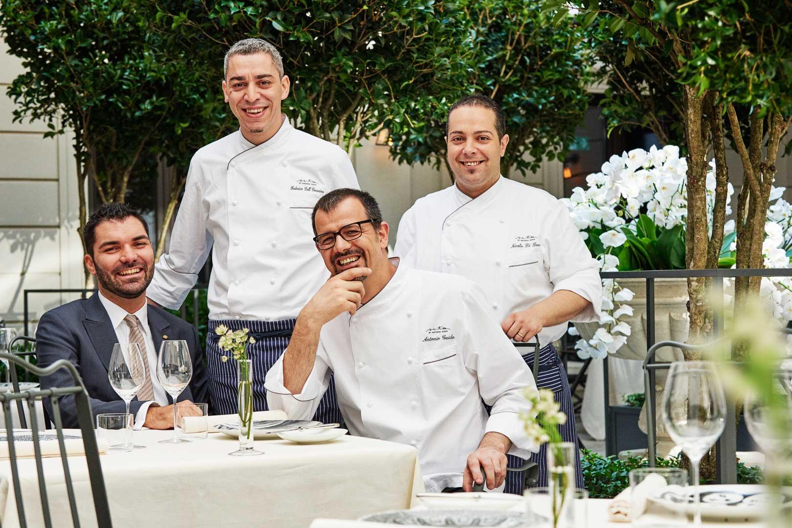 Executive Chef Antonio Guida, Executive Sous Chef Dellomarino, Pastry Chef Di Lena, Restaurant Manager Tasinato